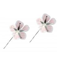 Blomster lilla/pink/sølv, medium