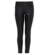 Imitation leather trousers with a 7/8-length leg