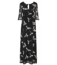 Lang kjole med fugle print