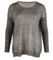 Oversize knit tunic w print