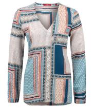 Viscose bluse med flot print fra S.Oliver